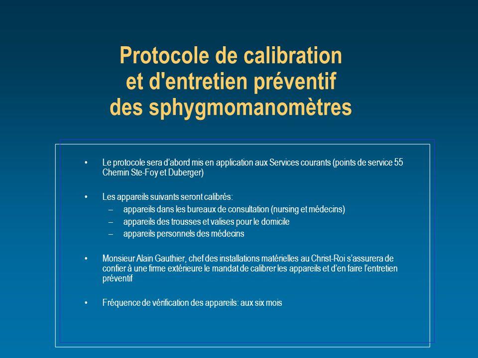 Le protocole sera dabord mis en application aux Services courants (points de service 55 Chemin Ste-Foy et Duberger) Les appareils suivants seront cali
