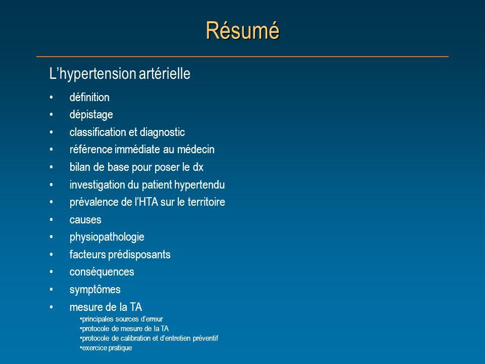 Résumé Lhypertension artérielle définition dépistage classification et diagnostic référence immédiate au médecin bilan de base pour poser le dx invest