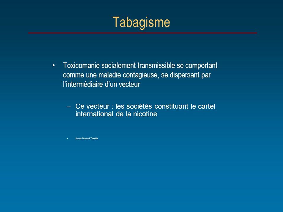 Tabagisme Toxicomanie socialement transmissible se comportant comme une maladie contagieuse, se dispersant par lintermédiaire dun vecteur –Ce vecteur
