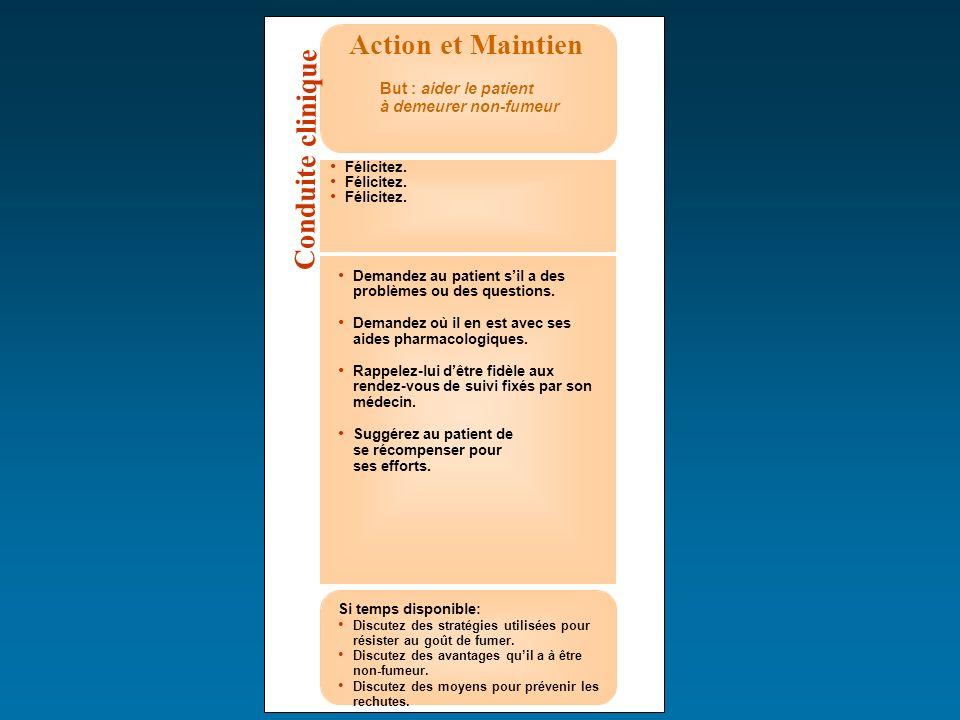 Action et Maintien But : aider le patient à demeurer non-fumeur Félicitez. Demandez au patient sil a des problèmes ou des questions. Demandez où il en