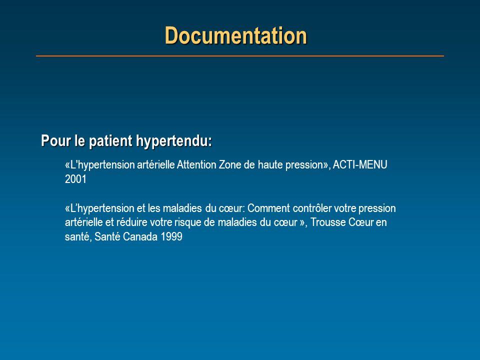 Documentation Pour le patient hypertendu: «L'hypertension artérielle Attention Zone de haute pression», ACTI-MENU 2001 «Lhypertension et les maladies