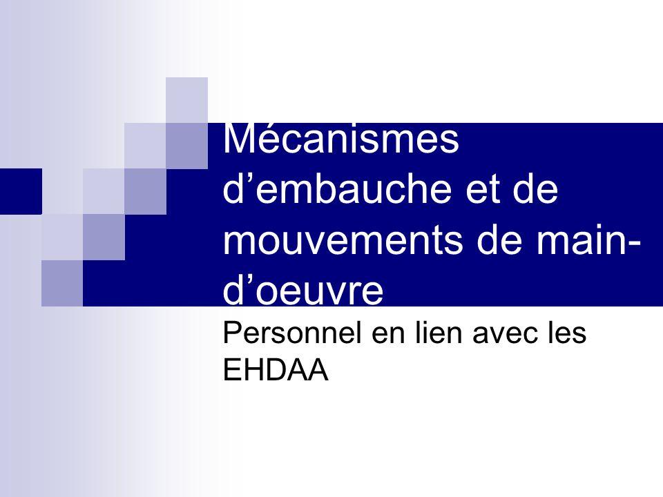 Mécanismes dembauche et de mouvements de main- doeuvre Personnel en lien avec les EHDAA