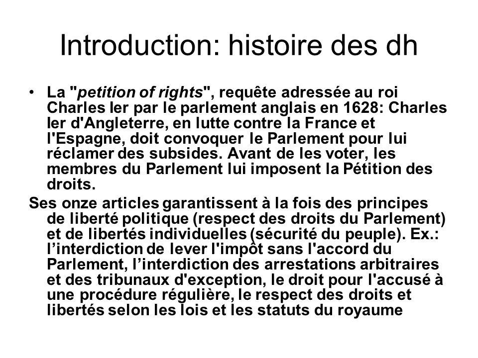 Introduction: histoire des dh La