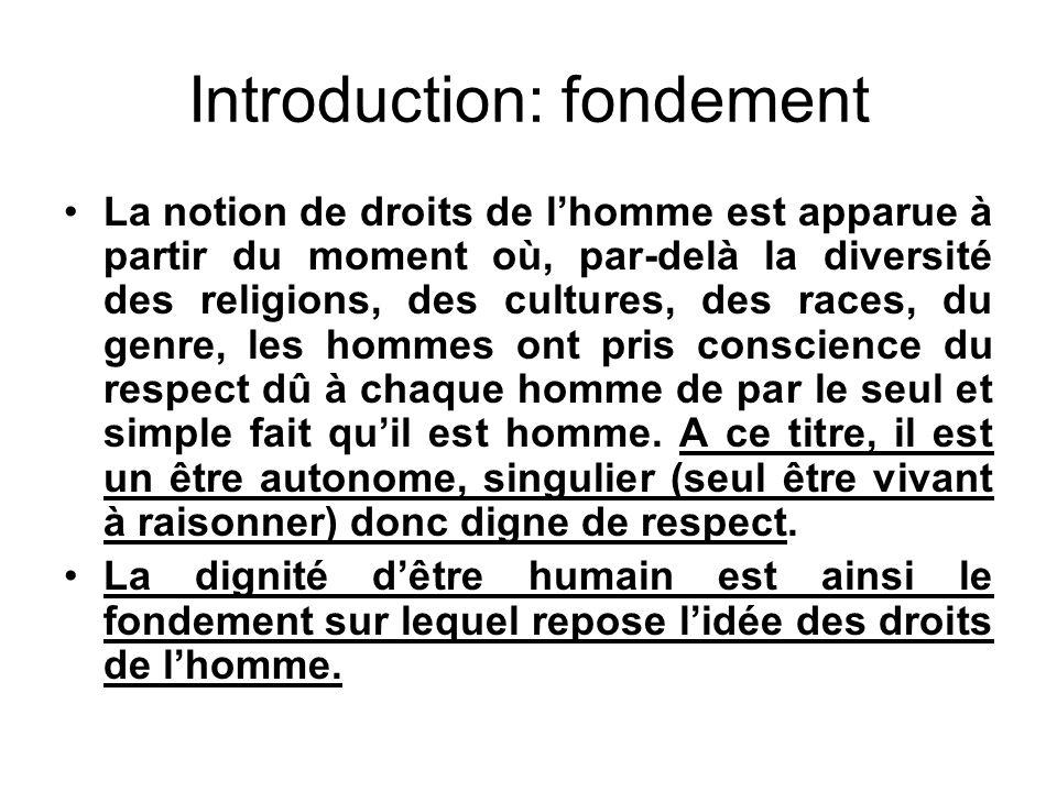 Introduction: fondement La notion de droits de lhomme est apparue à partir du moment où, par-delà la diversité des religions, des cultures, des races,