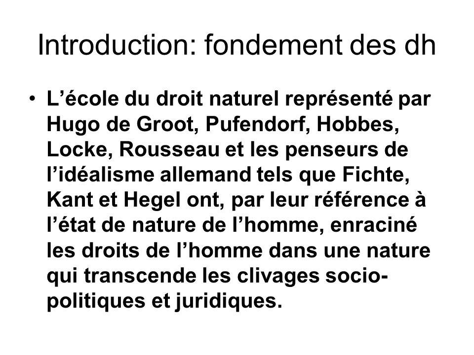 Introduction: fondement des dh Lécole du droit naturel représenté par Hugo de Groot, Pufendorf, Hobbes, Locke, Rousseau et les penseurs de lidéalisme