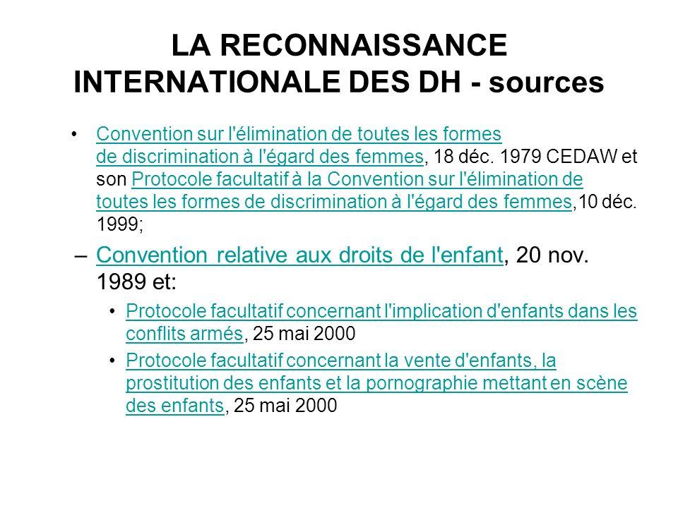 LA RECONNAISSANCE INTERNATIONALE DES DH - sources Convention sur l'élimination de toutes les formes de discrimination à l'égard des femmes, 18 déc. 19