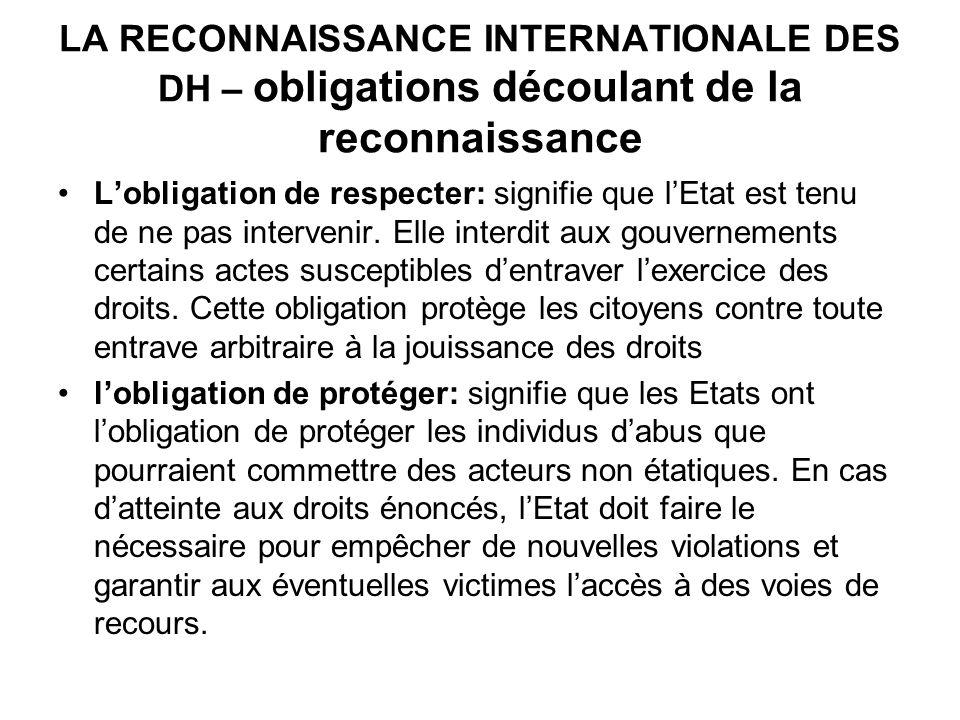 LA RECONNAISSANCE INTERNATIONALE DES DH – obligations découlant de la reconnaissance Lobligation de respecter: signifie que lEtat est tenu de ne pas i