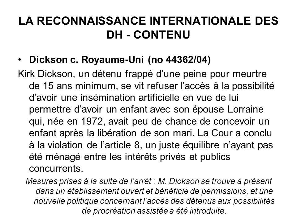 LA RECONNAISSANCE INTERNATIONALE DES DH - CONTENU Dickson c.