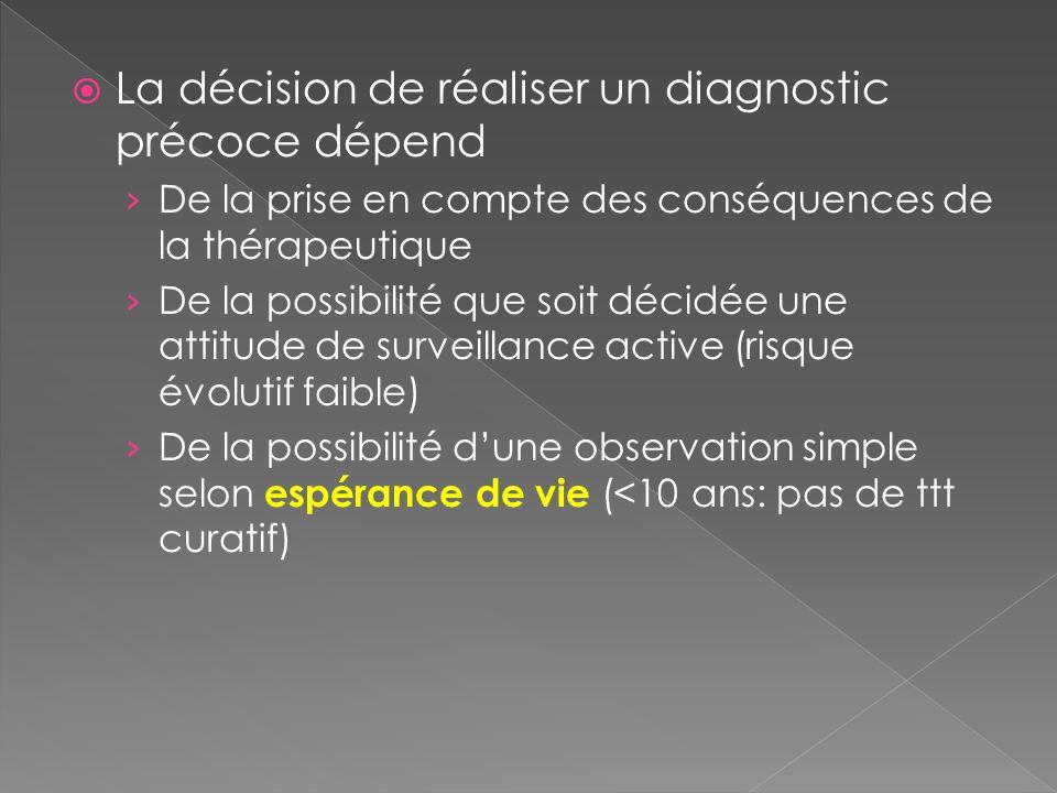 La décision de réaliser un diagnostic précoce dépend De la prise en compte des conséquences de la thérapeutique De la possibilité que soit décidée une