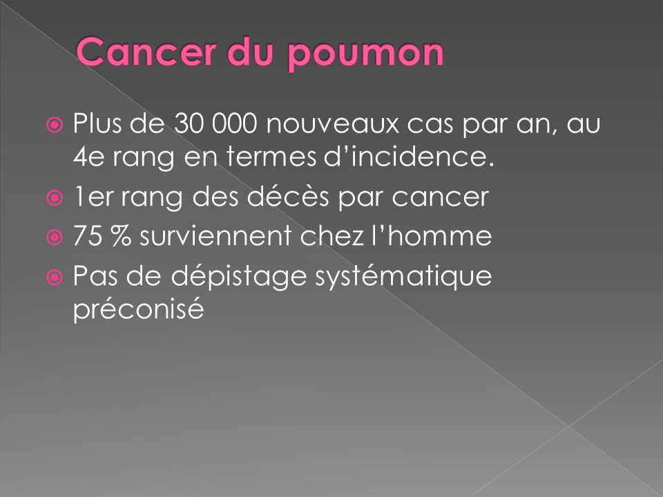 Plus de 30 000 nouveaux cas par an, au 4e rang en termes dincidence. 1er rang des décès par cancer 75 % surviennent chez lhomme Pas de dépistage systé