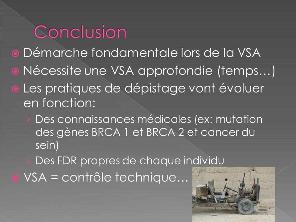 Démarche fondamentale lors de la VSA Nécessite une VSA approfondie (temps…) Les pratiques de dépistage vont évoluer en fonction: Des connaissances méd