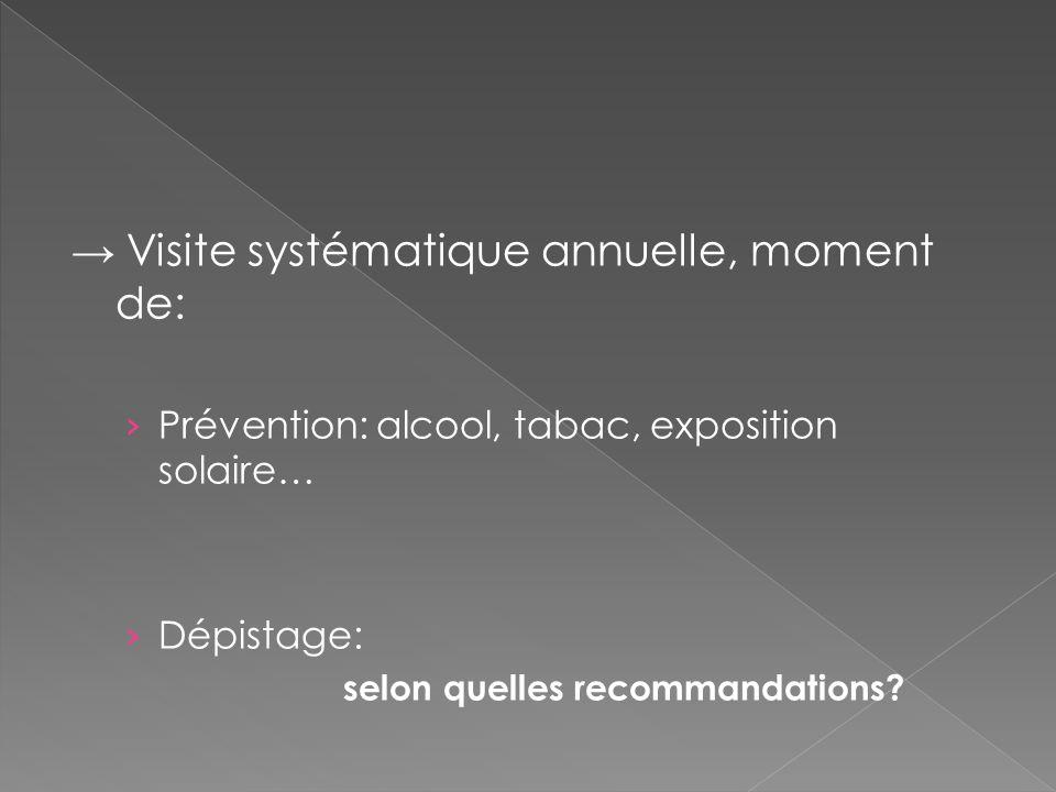 Visite systématique annuelle, moment de: Prévention: alcool, tabac, exposition solaire… Dépistage: selon quelles recommandations?