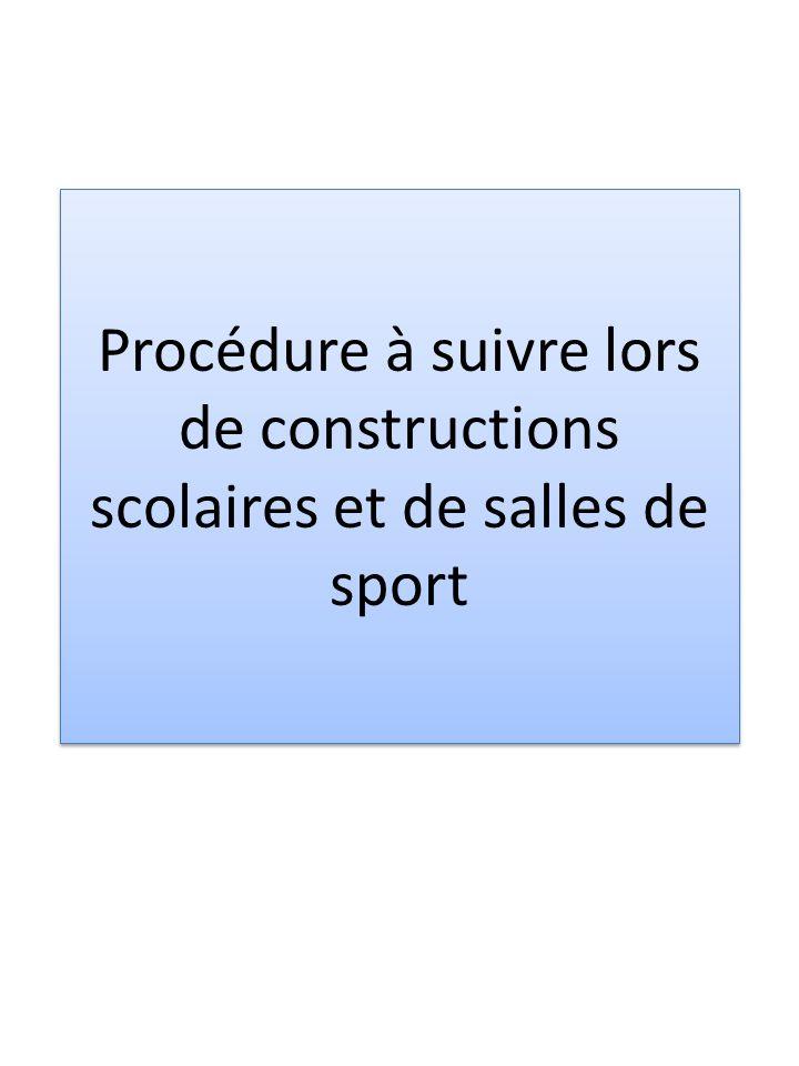 Généralités Cette procédure est issue de la loi du 11 octobre 2005 relative aux subventions pour les constructions décoles enfantines, primaires et du cycle dorientation (RSF 414.4) et de son règlement du 4 juillet 2006 (RSF 414.41).