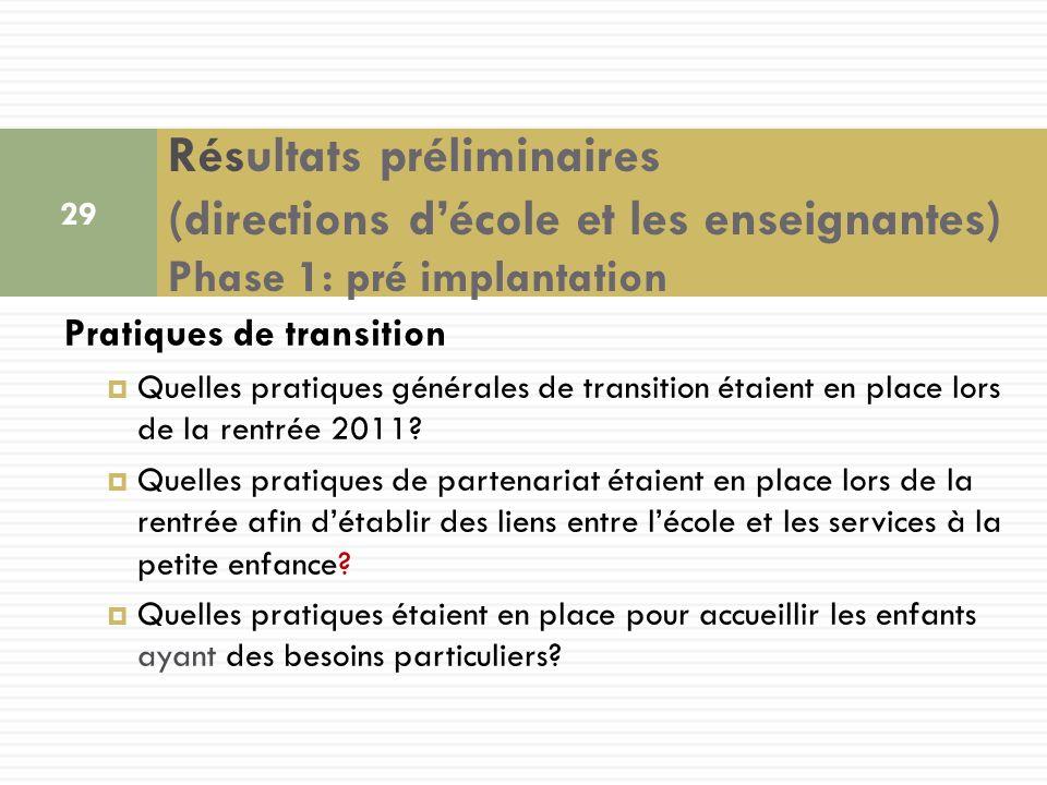 Pratiques de transition Quelles pratiques générales de transition étaient en place lors de la rentrée 2011.