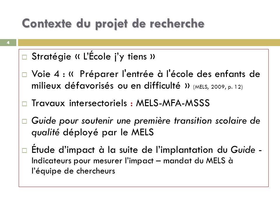 44 Contexte du projet de recherche Stratégie « LÉcole jy tiens » Voie 4 : « Préparer l entrée à l école des enfants de milieux défavorisés ou en difficulté » (MELS, 2009, p.