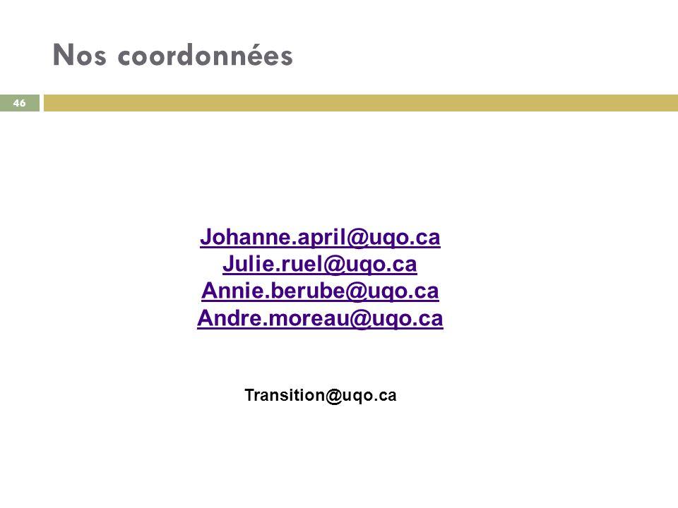 Nos coordonnées Johanne.april@uqo.ca Julie.ruel@uqo.ca Annie.berube@uqo.ca Andre.moreau@uqo.ca Transition@uqo.ca 46