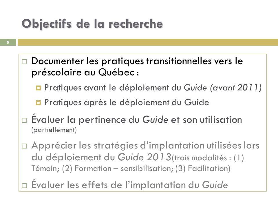 10 Question générale de recherche Quelles sont les pratiques de transition mises en place dans les milieux préscolaires du Québec .