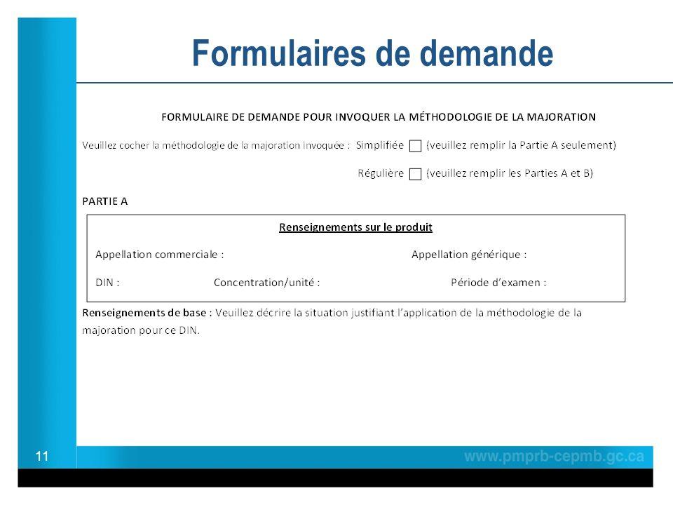 11 Formulaires de demande