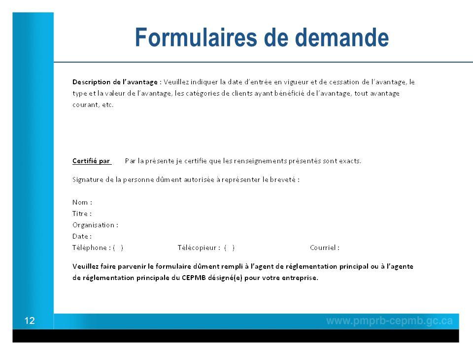 12 Formulaires de demande