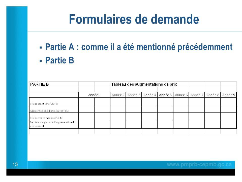 Partie A : comme il a été mentionné précédemment Partie B 13 Formulaires de demande