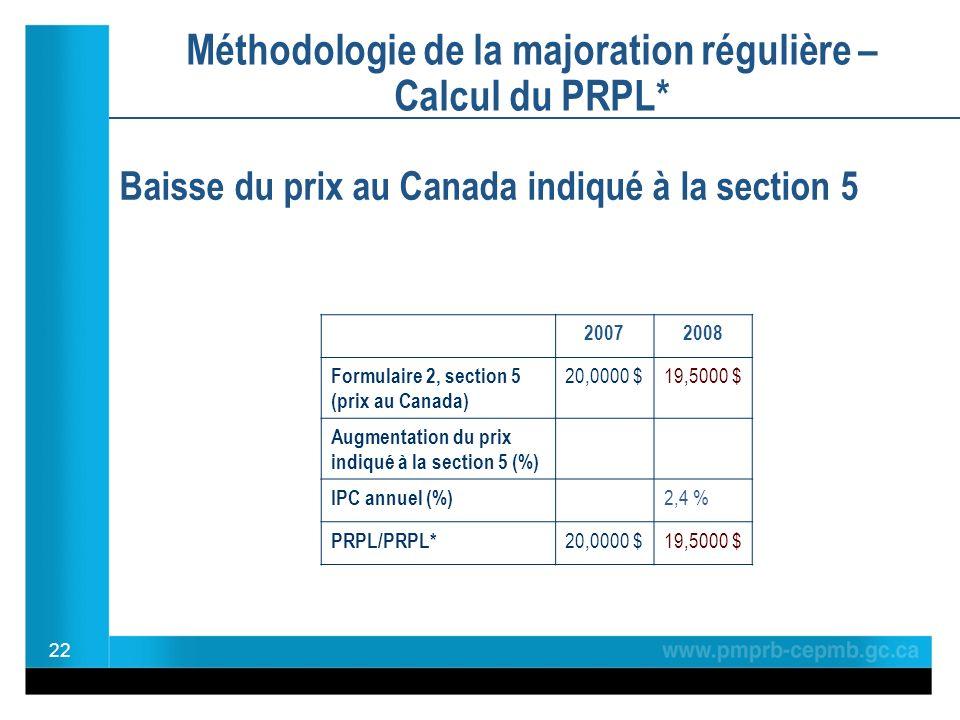 Méthodologie de la majoration régulière – Calcul du PRPL* Baisse du prix au Canada indiqué à la section 5 22 20072008 Formulaire 2, section 5 (prix au Canada) 20,0000 $19,5000 $ Augmentation du prix indiqué à la section 5 (%) IPC annuel (%) 2,4 % PRPL/PRPL* 20,0000 $19,5000 $
