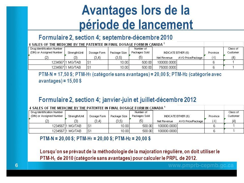 Formulaire 2, section 4; septembre-décembre 2010 PTM-N = 17,50 $; PTM-H 1 (catégorie sans avantages) = 20,00 $; PTM-H 2 (catégorie avec avantages) = 15,00 $ Formulaire 2, section 4; janvier-juin et juillet-décembre 2012 6 Avantages lors de la période de lancement PTM-N = 20,00 $; PTM-H 1 = 20,00 $; PTM-H 2 = 20,00 $ Lorsquon se prévaut de la méthodologie de la majoration régulière, on doit utiliser le PTM-H 1 de 2010 (catégorie sans avantages) pour calculer le PRPL de 2012.