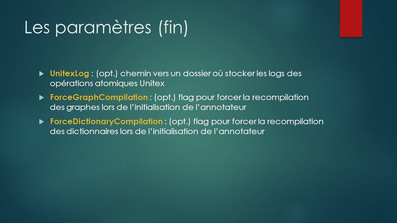 Les paramètres (fin) UnitexLog : (opt.) chemin vers un dossier où stocker les logs des opérations atomiques Unitex ForceGraphCompilation : (opt.) flag pour forcer la recompilation des graphes lors de linitialisation de lannotateur ForceDictionaryCompilation : (opt.) flag pour forcer la recompilation des dictionnaires lors de linitialisation de lannotateur