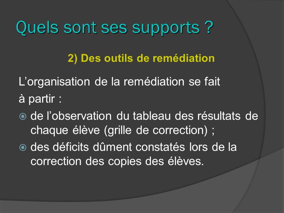 Quels sont ses supports ? 2) Des outils de remédiation Lorganisation de la remédiation se fait à partir : de lobservation du tableau des résultats de