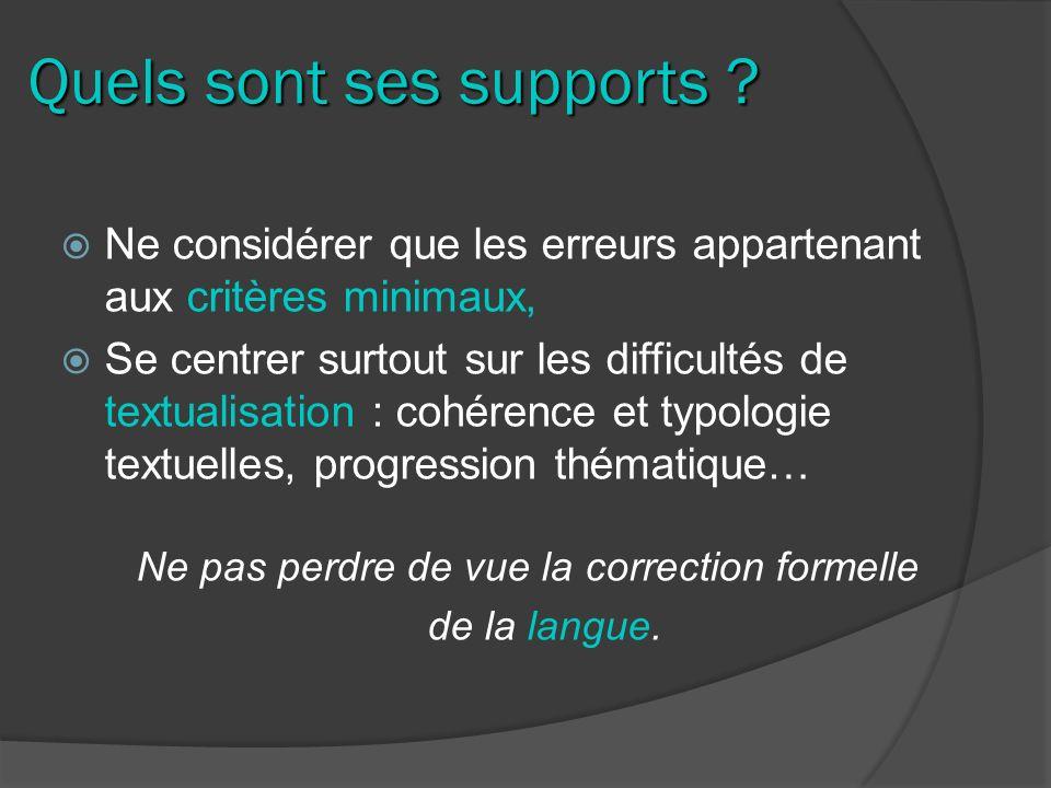 Quels sont ses supports ? Ne considérer que les erreurs appartenant aux critères minimaux, Se centrer surtout sur les difficultés de textualisation :
