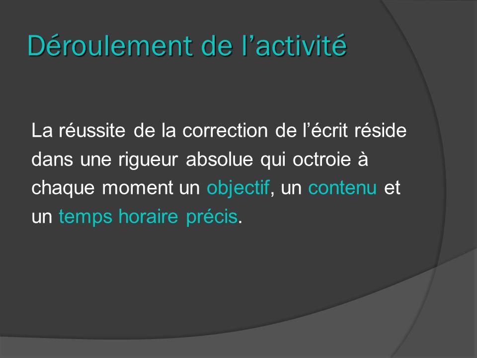 Déroulement de lactivité La réussite de la correction de lécrit réside dans une rigueur absolue qui octroie à chaque moment un objectif, un contenu et un temps horaire précis.