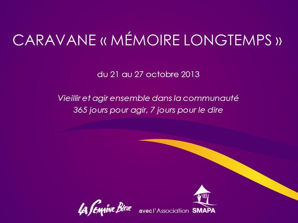 avec lAssociation CARAVANE « MÉMOIRE LONGTEMPS » du 21 au 27 octobre 2013 Vieillir et agir ensemble dans la communauté 365 jours pour agir, 7 jours pour le dire