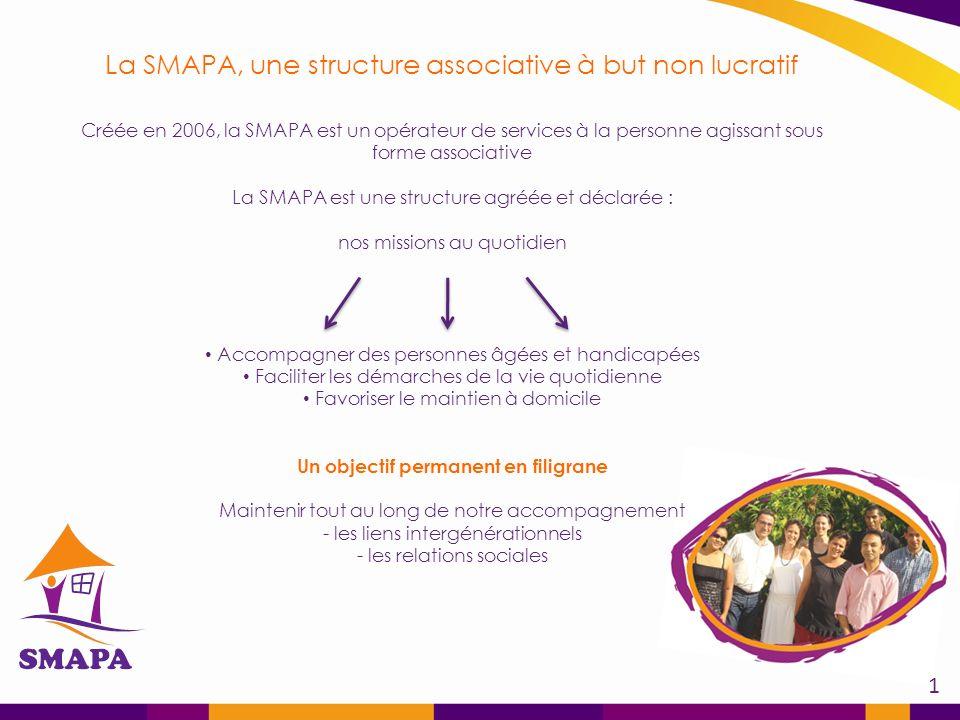 ? La SMAPA, une structure associative à but non lucratif Créée en 2006, la SMAPA est un opérateur de services à la personne agissant sous forme associative La SMAPA est une structure agréée et déclarée : nos missions au quotidien Accompagner des personnes âgées et handicapées Faciliter les démarches de la vie quotidienne Favoriser le maintien à domicile Un objectif permanent en filigrane Maintenir tout au long de notre accompagnement - les liens intergénérationnels - les relations sociales 1