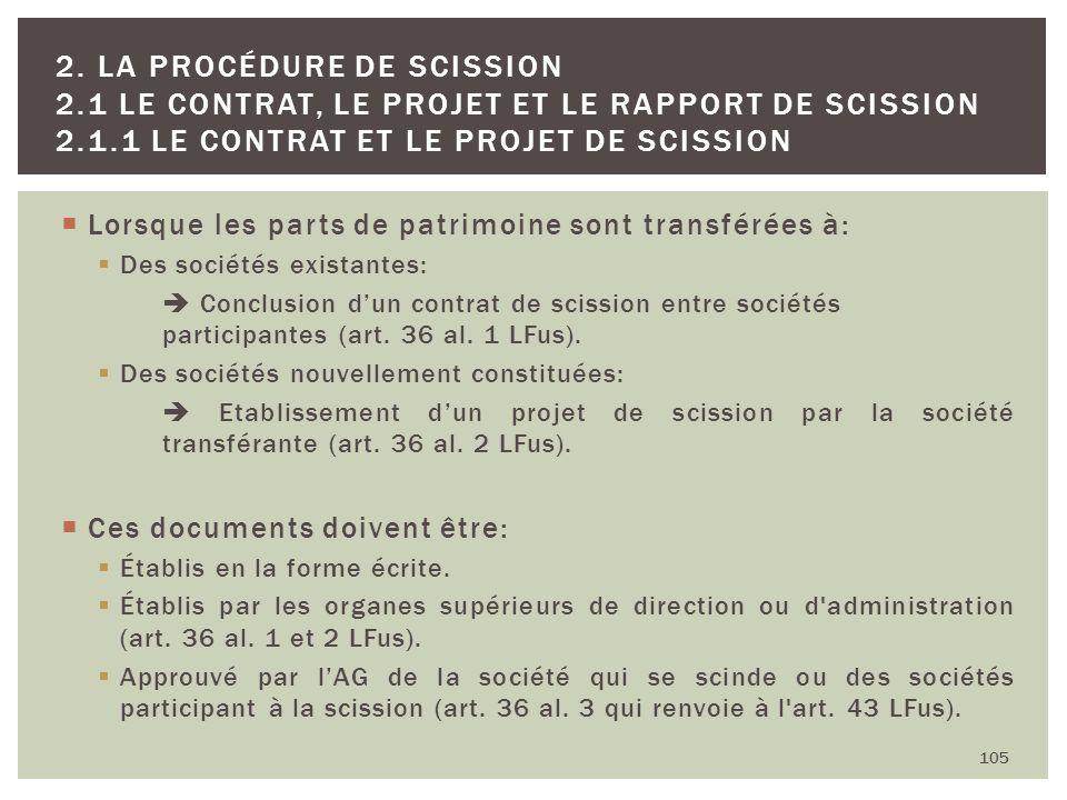 Lorsque les parts de patrimoine sont transférées à: Des sociétés existantes: Conclusion dun contrat de scission entre sociétés participantes (art. 36