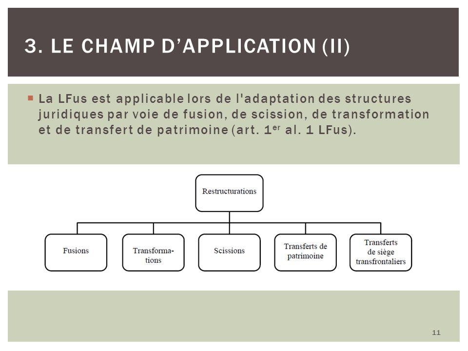 La LFus est applicable lors de l'adaptation des structures juridiques par voie de fusion, de scission, de transformation et de transfert de patrimoine