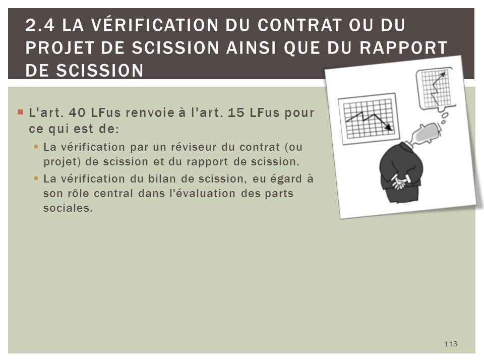 L'art. 40 LFus renvoie à l'art. 15 LFus pour ce qui est de: La vérification par un réviseur du contrat (ou projet) de scission et du rapport de scissi