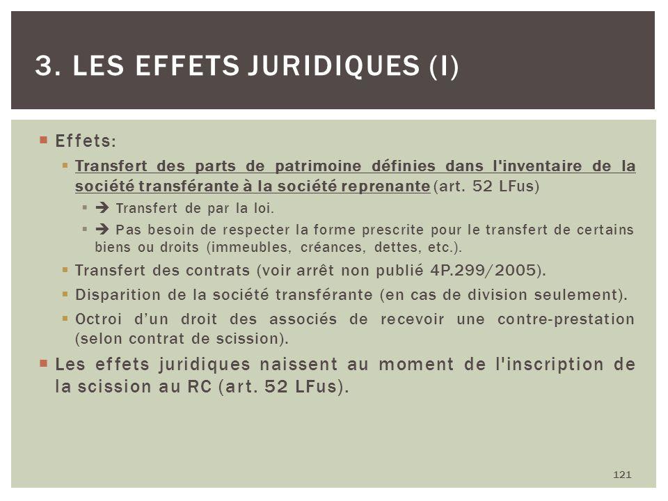 Effets: Transfert des parts de patrimoine définies dans l'inventaire de la société transférante à la société reprenante (art. 52 LFus) Transfert de pa