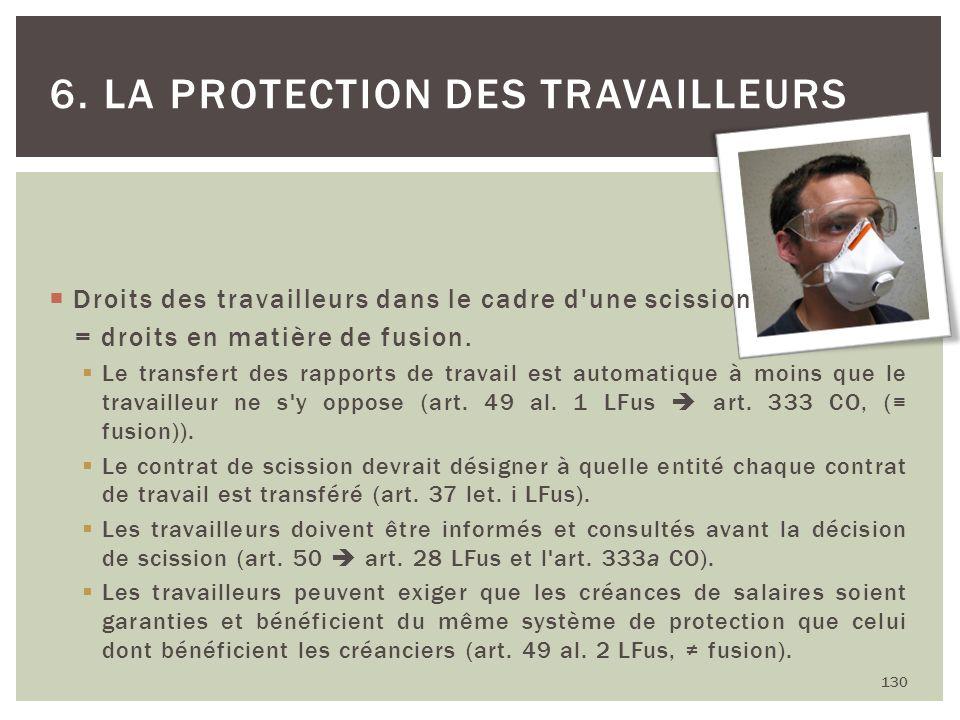 130 6. LA PROTECTION DES TRAVAILLEURS Droits des travailleurs dans le cadre d'une scission = droits en matière de fusion. Le transfert des rapports de