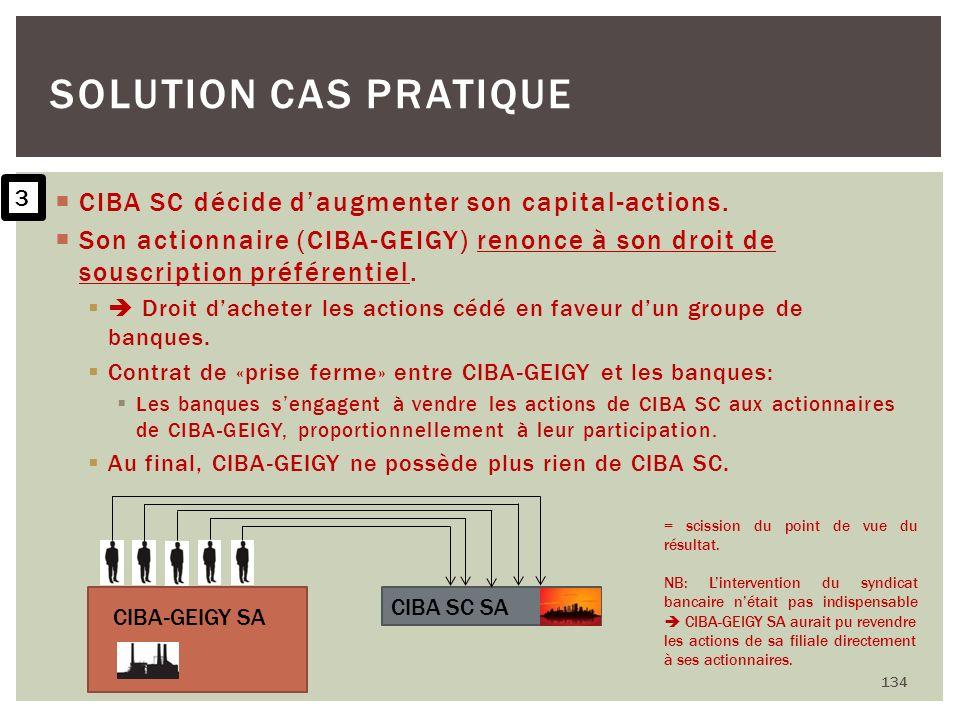 CIBA SC décide daugmenter son capital-actions. Son actionnaire (CIBA-GEIGY) renonce à son droit de souscription préférentiel. Droit dacheter les actio