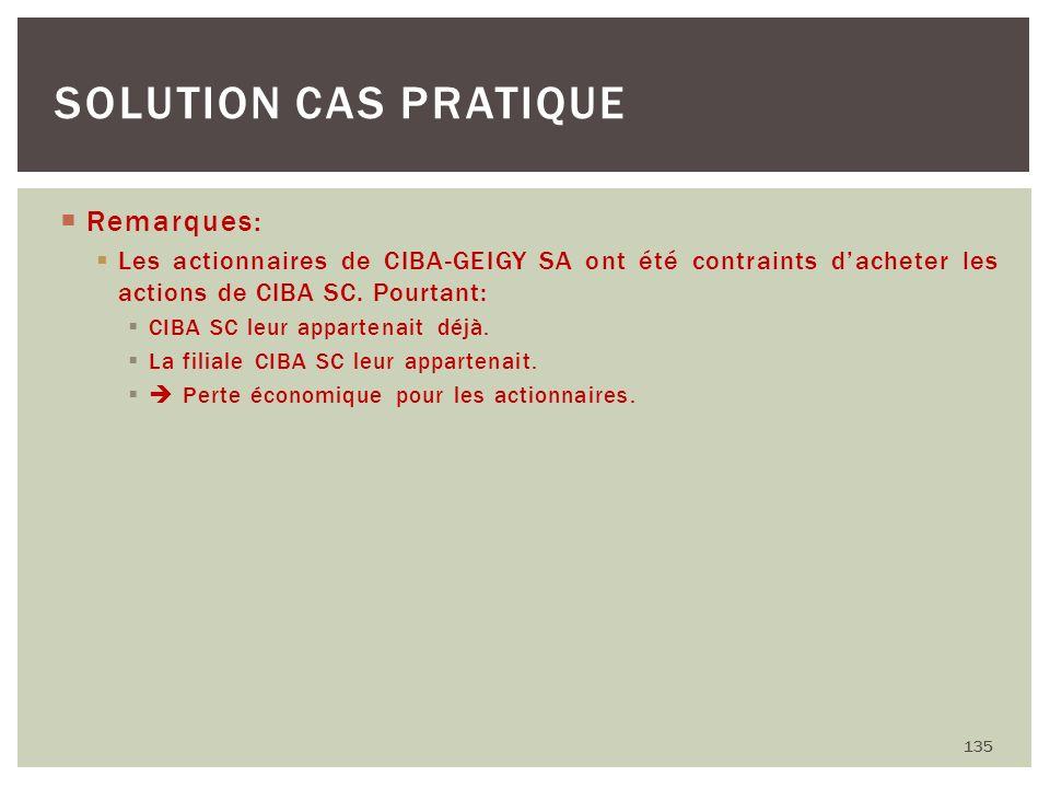 Remarques: Les actionnaires de CIBA-GEIGY SA ont été contraints dacheter les actions de CIBA SC. Pourtant: CIBA SC leur appartenait déjà. La filiale C