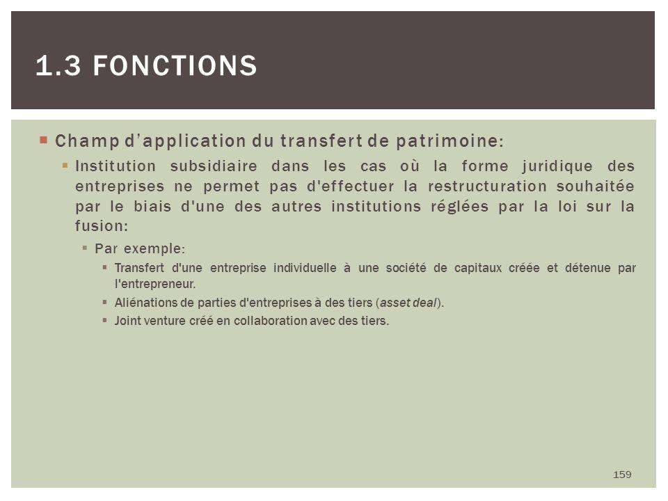 Champ dapplication du transfert de patrimoine: Institution subsidiaire dans les cas où la forme juridique des entreprises ne permet pas d'effectuer la