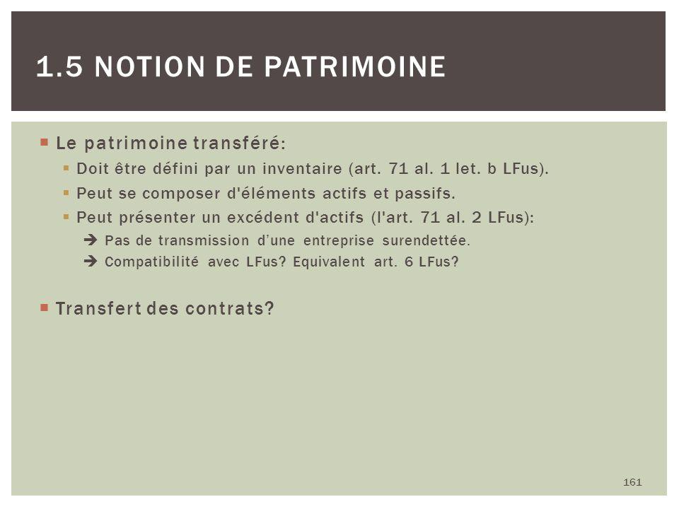 Le patrimoine transféré: Doit être défini par un inventaire (art. 71 al. 1 let. b LFus). Peut se composer d'éléments actifs et passifs. Peut présenter