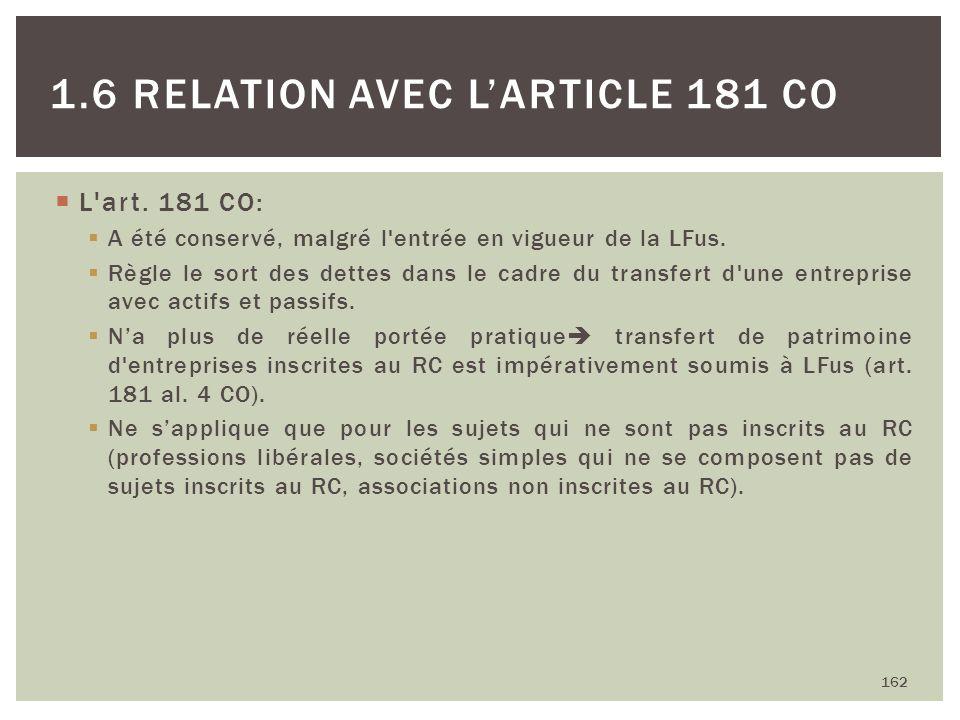 L'art. 181 CO: A été conservé, malgré l'entrée en vigueur de la LFus. Règle le sort des dettes dans le cadre du transfert d'une entreprise avec actifs