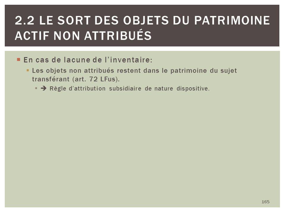 En cas de lacune de linventaire: Les objets non attribués restent dans le patrimoine du sujet transférant (art. 72 LFus). Règle dattribution subsidiai