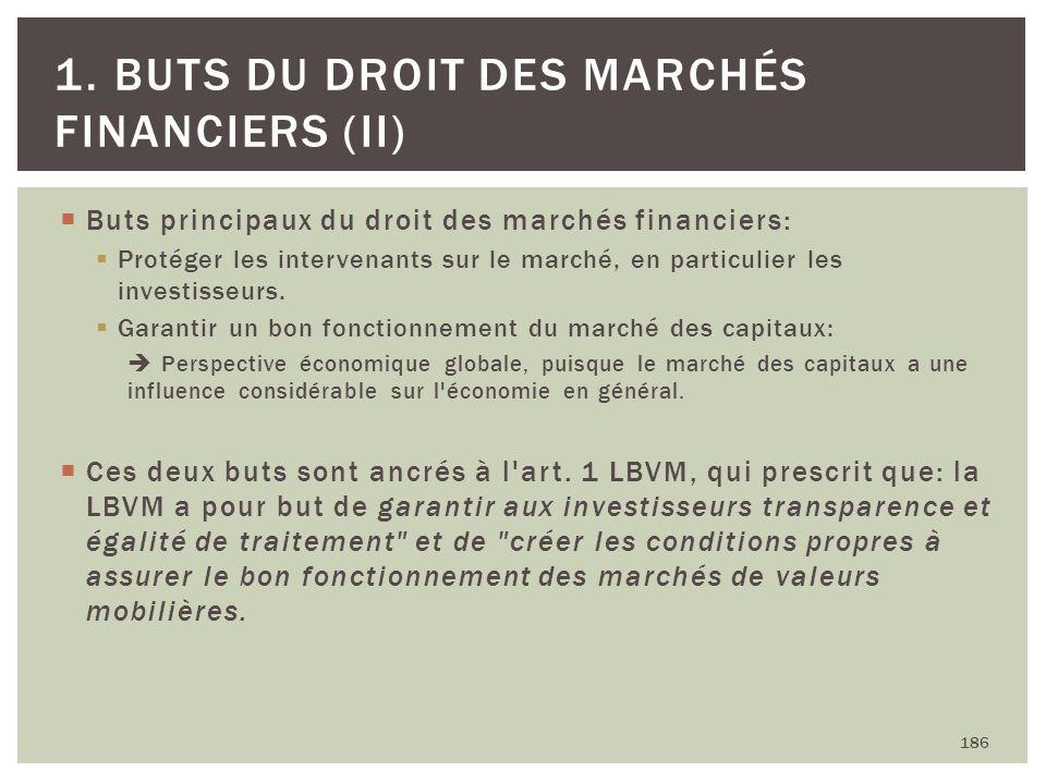 Buts principaux du droit des marchés financiers: Protéger les intervenants sur le marché, en particulier les investisseurs. Garantir un bon fonctionne