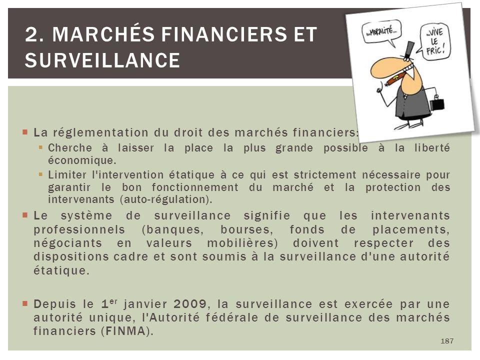 187 2. MARCHÉS FINANCIERS ET SURVEILLANCE La réglementation du droit des marchés financiers: Cherche à laisser la place la plus grande possible à la l