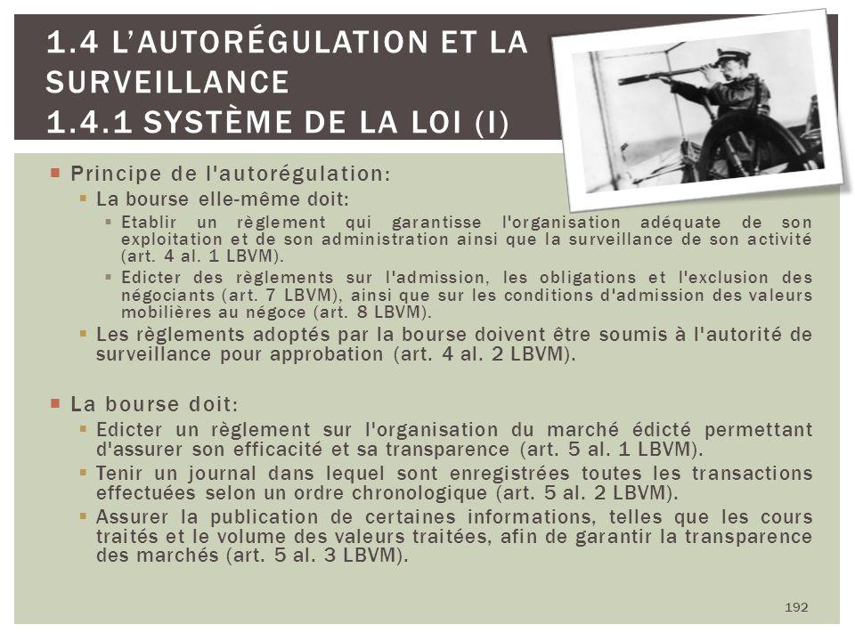 192 1.4 LAUTORÉGULATION ET LA SURVEILLANCE 1.4.1 SYSTÈME DE LA LOI (I) Principe de l'autorégulation: La bourse elle-même doit: Etablir un règlement qu