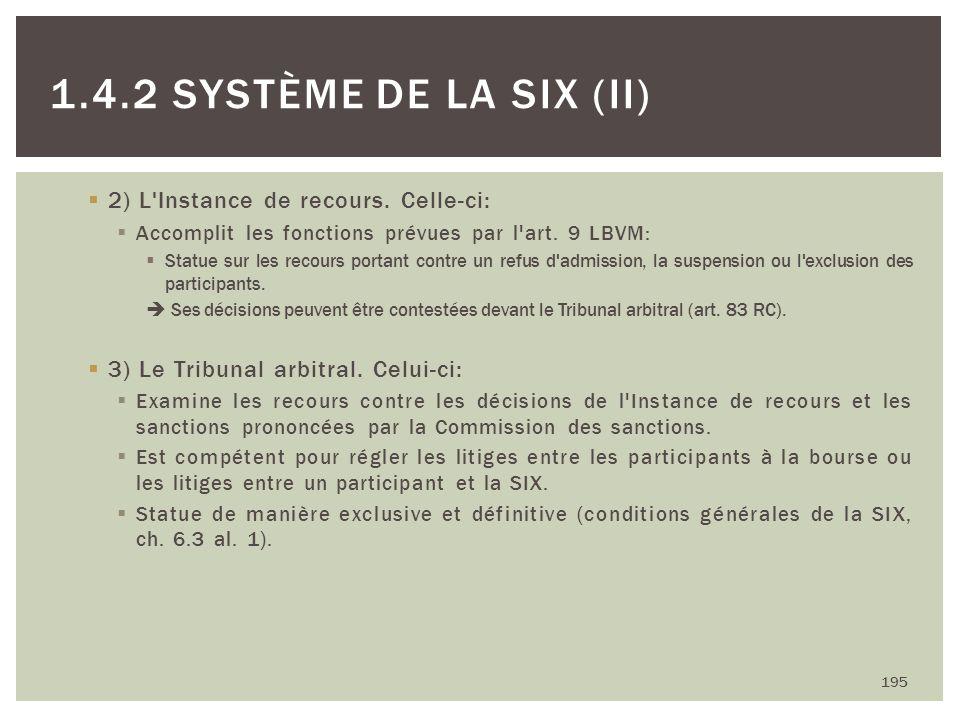 2) L'Instance de recours. Celle-ci: Accomplit les fonctions prévues par l'art. 9 LBVM: Statue sur les recours portant contre un refus d'admission, la