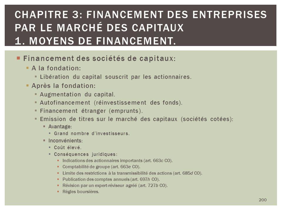Financement des sociétés de capitaux: A la fondation: Libération du capital souscrit par les actionnaires. Après la fondation: Augmentation du capital