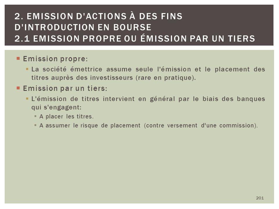 Emission propre: La société émettrice assume seule l'émission et le placement des titres auprès des investisseurs (rare en pratique). Emission par un
