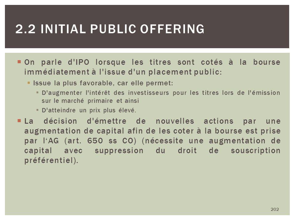 On parle d'IPO lorsque les titres sont cotés à la bourse immédiatement à l'issue d'un placement public: Issue la plus favorable, car elle permet: D'au